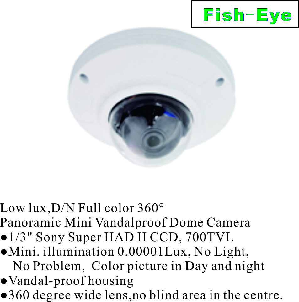 Low lux,D/N Full color 360 degree Panoramic Mini Vandalproof Dome Camera