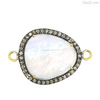 Rainbow Moonstone 925 Sterling Silver Pave Diamond Connector Jewelry Rainbow Moonstone Finding Gemstone Connectors Wholesaler