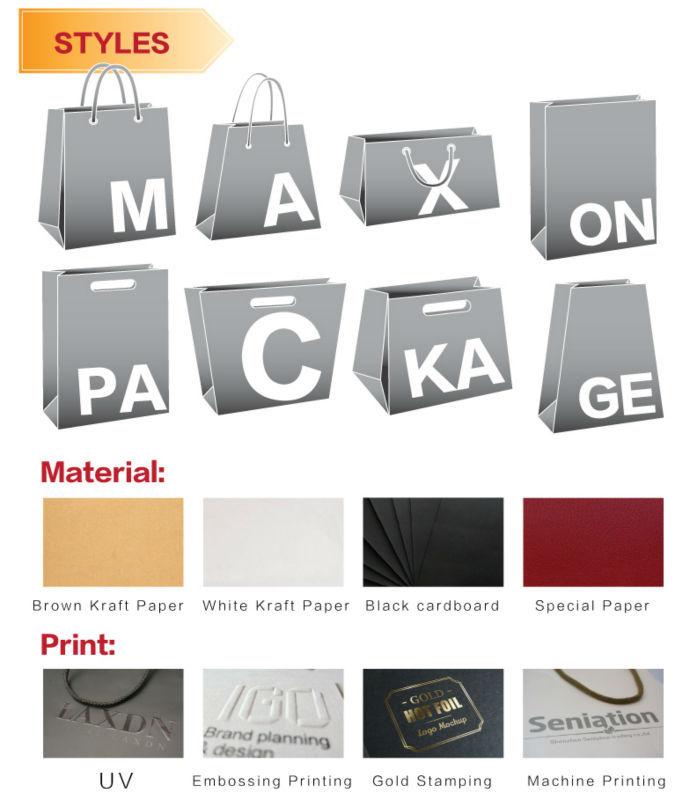 Fábrica de Guangzhou High End Personalizado Colorido Fita de Impressão Lidar Com Qualidade Premium de Papel Presente de Compras Carry Packaging Bag