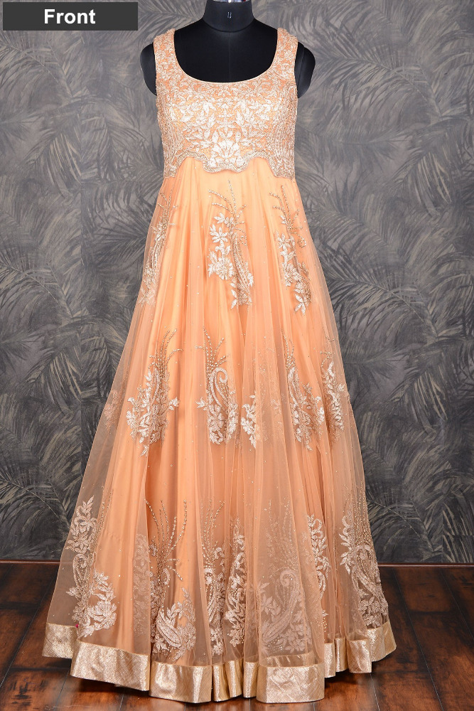 Peach elegant floor length net gown with gota work