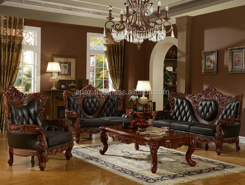 Classic Furniture Luxury Living Room Wooden Sofa Set , Solid wooden sofa designs , Luxury sofa sets wholesale price