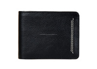 Black genuine leather wallet with Flip up credit card & coin pocket/Stylish men wallet