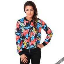 2016 top stylish girls\ladies\women custom bomber varsity jacket/Satin sublimation printing jacket /Model Strapped Bomber Jacket