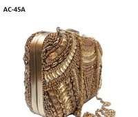 AC45A Ladies Clutch handbag bridal embroidery exclusive Indian purse Indian shopping online evening bag party designer stylish