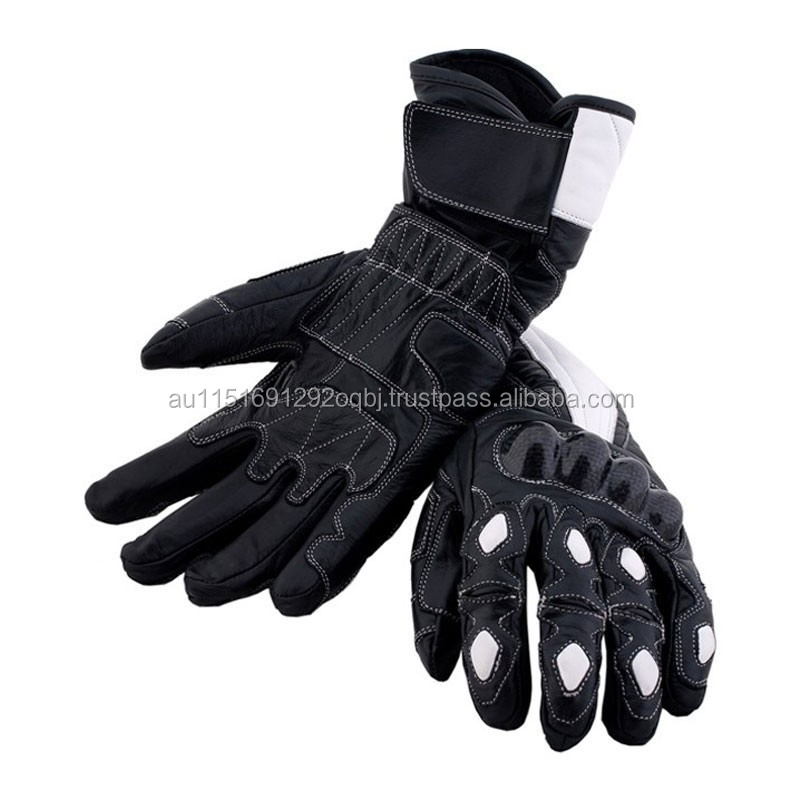 LEATHER GLOVES MOTORCYCLE, CARBON KEVLAR BIKE PROTECTION