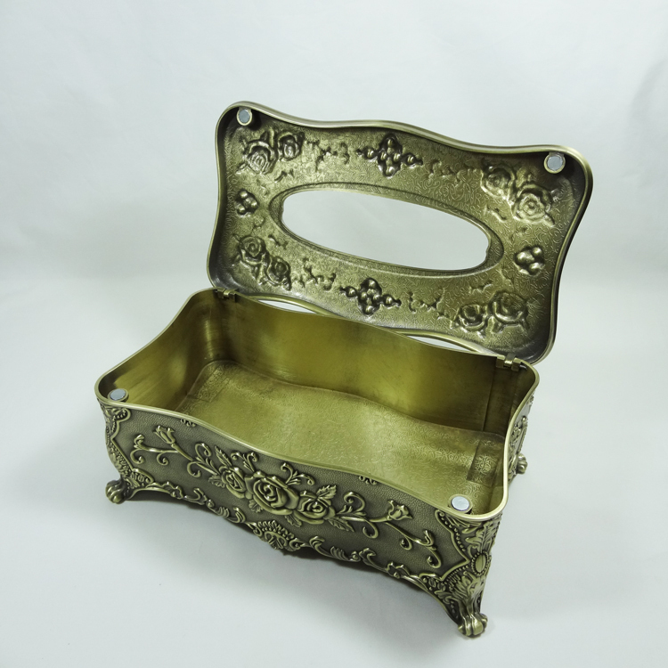Metal rectangle rose Tissue Box (LD-4327L/D/P)
