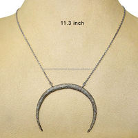 925 Sterling Silver Pave Diamond Crescent Moon Fashion Necklace Wholesale Diamond Jewelry Manufacturer