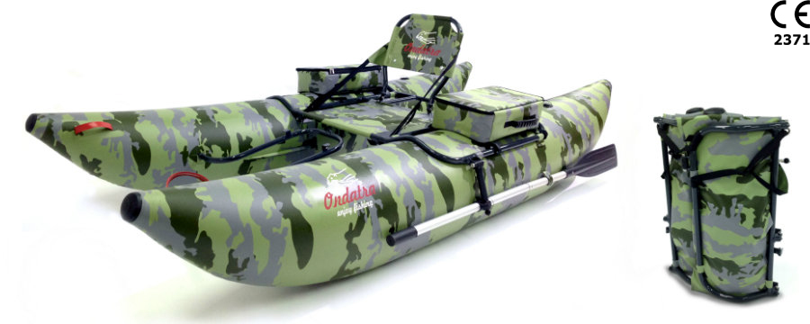 ONDATRA Inflatable PVC Fishing Pontoon Boat with Foldable Aluminum Frame & popular Accessories. Weight 27 lbs (12 kg)! Camouflag