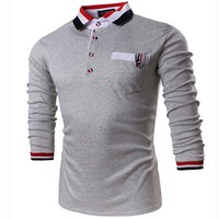 Casual Long Sleeves Men Polo Shirts