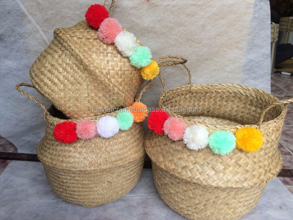 High quality best selling eco-friendly Natural Sea Grass Basket with colored pompoms from Vietnam