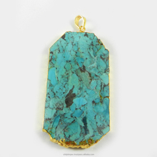 Sarrah Pendant - Natural Arizona Turquoise - Fancy Shape - 18k Gold Plated - Jewelry Pendant - SIPN0213