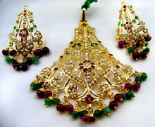 Long Multi-color Jadau Pendant Set