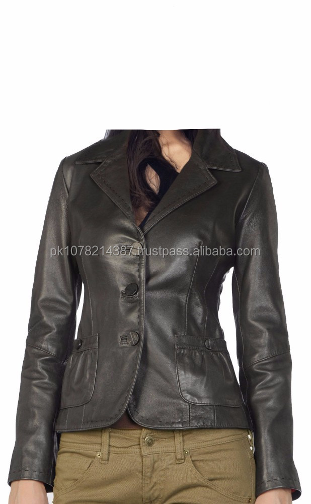 2015 FASHION STYLISH GOTHIC SNUG-FIT CORPORATE LEATHER JACKET FOR PROFESSIONAL FOR WOMEN