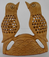 Wooden Carving Bird Pair