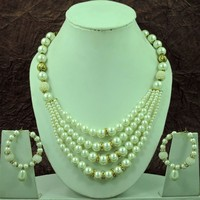 Wholesale Most beautiful 4 Layer Designer Silver Pearls Necklace Set