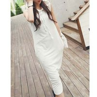 Cotton 95% + Spandex 5% Gray or Ivory Color Dress korea product apparel for women