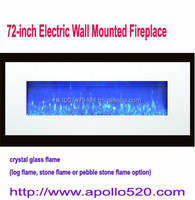 72 Inch Crystal Glass Built-in Wall Mounted Electric Fireplace White