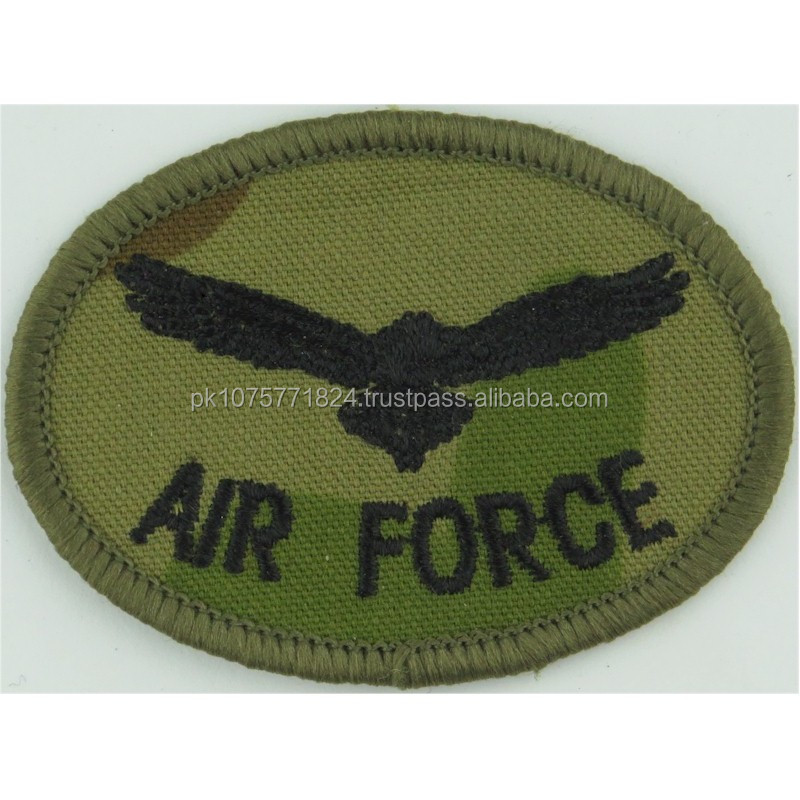 Machine embroidery badges Royal Australian Air Force Eagle Armbadge Black On Auscam Oval Embroidered Foreign Air Force