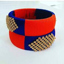 Factory direct sale Ladies fancy designer bangles with stone work silk thread