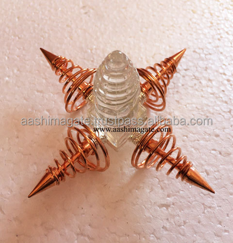 Shree yantra With Copper Coil Energy Genertors : Healing Energy Generator Agate Tool