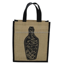 Recycled Self Handle Jute Fabric Three Bottle Wine Tote Bag