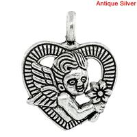 Charm Pendants Heart Antique Silver Angel Pattern Carved 20x16mm,30PCs