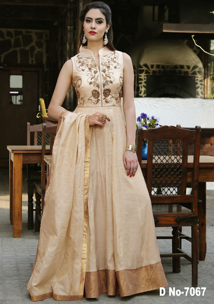 cream color indowesten style saree with hand work with cutdana and jardosi and jerkon work