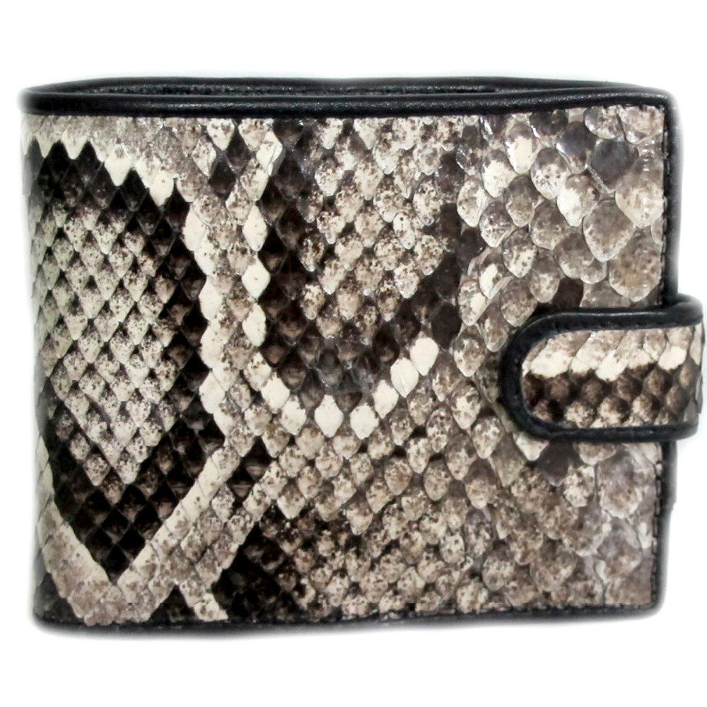 FREE SHIPPING GENUINE PYTHON LEATHER BIFOLD WALLET WITH CLOSED SNAP SIZE = 3.5 X 4.2 INCHES