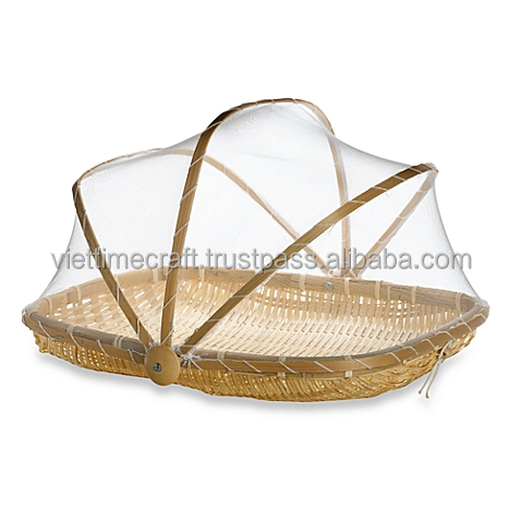 Bamboo folding fruit basket, bamboo fruit basket with net cover