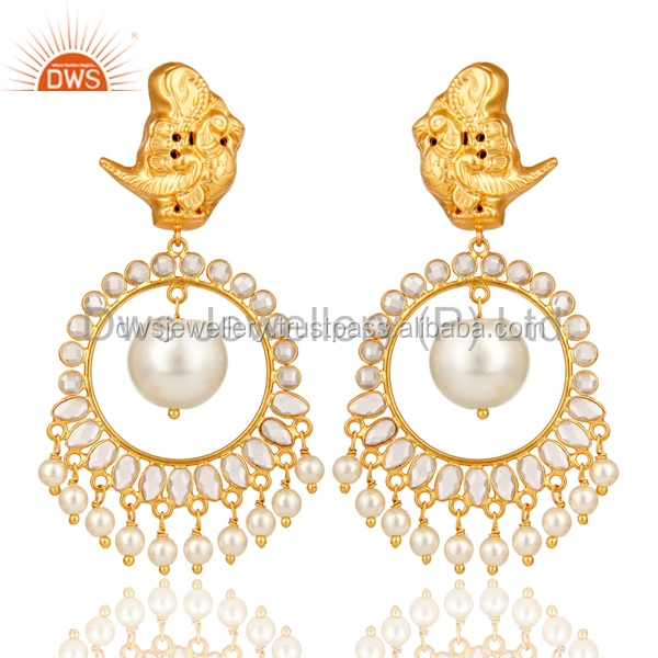 White Pearl and CZ Sterling Silver 18K Gold Plated Traditional Earrings Supplier of Designer Indian Jewelry