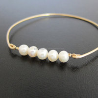 Pearl Bangle , 925 Sterling Silver Bangle , Gemstone Bangle