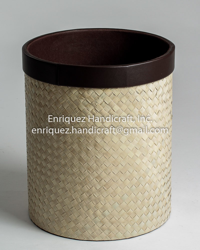Round Waste Basket with woven buri body and PVC trim