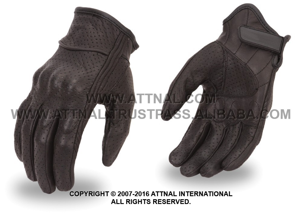 Fully Perforated Motorbike Gloves with Rubberized Knuckle Protection