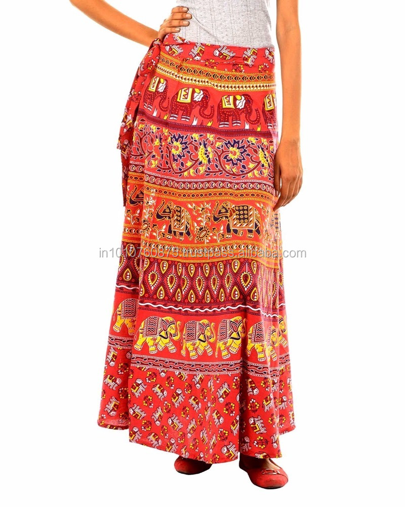 Women's Vintage Solid Color High Waist Wrap Hipie Midi Skirt from India