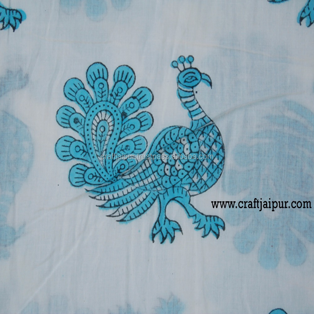 Hand Block Print Indian Beautiful Animal Printed Wholesale Fabrics