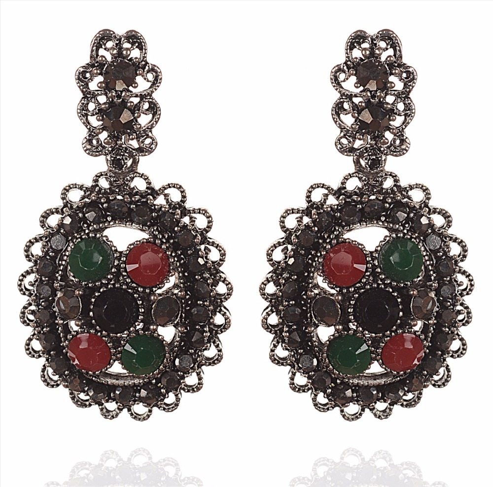 Zephyrr Fashion Pierced Hanging Earrings Oxidized Handmade Stones