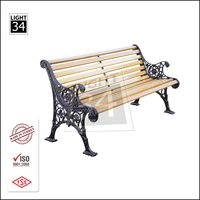 Wood Slats Cast Aluminum Frame Outdoor Park Bench