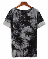 Tie Dye Print T-shirt/Soft-touch jersey , chest pocket, Fashion cotton Tshirt