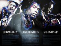 Bob Marley Jimi Hendrix Miles Davis Music Poster with Biography (18x24) - African American