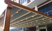 Aluminum pergola with automatic PVC roof and Led light