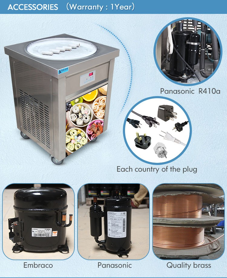 Free shipping to world wide USA ETL 110V fried ice cram machine maker r410 with big pan gold supplier guangzhou in snack machine