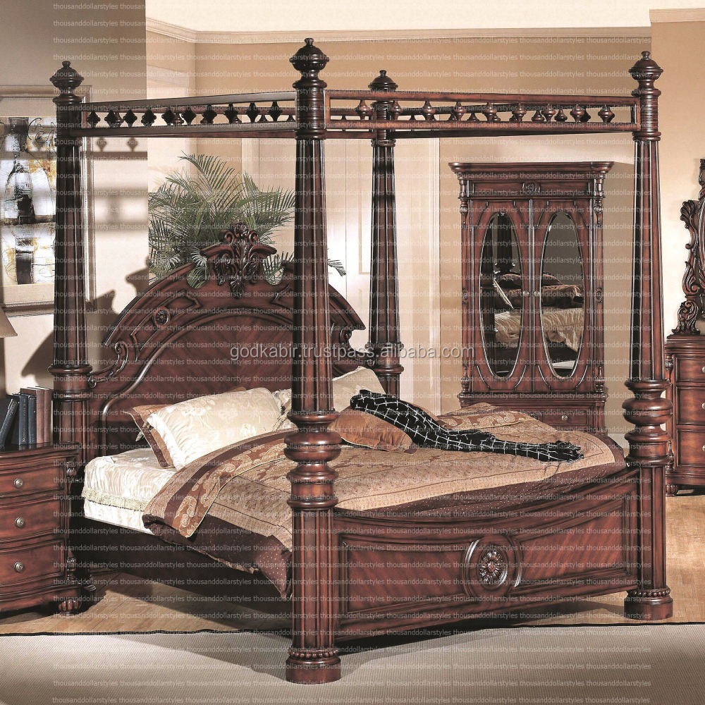 Special for weeding gift foor groom solid and unique design Modern And Traditional Wooden Style Corina King Four Poster Bed.