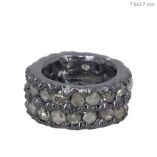 925 Sterling Silver Pave Diamond Studded Spacer Wheel Finding Jewelry