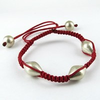 Exclusive Red Thread Plain Silver Beads 925 Sterling Silver Bracelet, Unique Silver Jewelry, Indian Jewelry Manufacturer