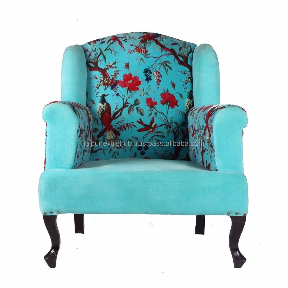 Indian woodenclassic embroidered Arm chair Indoor Decor Bird print Sofa