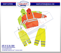 Road Safety Rain Jacket with Bib, Yellow Reflective Road Safety Jacket and Trouser