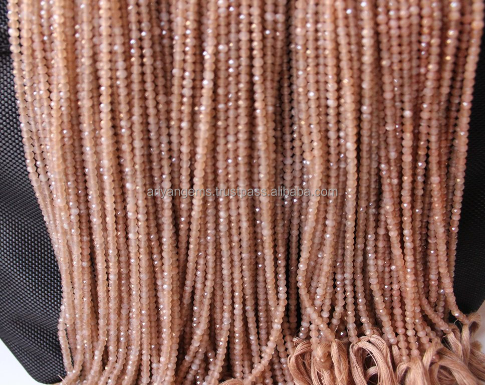 Natural Gemstone Pink Peach Moonstone Micro Faceted Rondelle beads Full 13 inch Strand-AAA+ Quality 2.0 to 4.0 mm