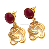 Paramount Jewellers 925 Sterling Silver Dyed Ruby And Zirconia Gemstone Earring - Vermeil Gold