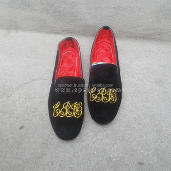 Black velvet loafers embroidery logo initials mens shoes with leather sole