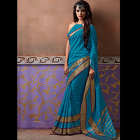 Turquoise Colour Handloom Cotton Silk Saree